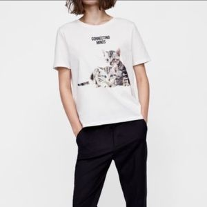 Zara Connecting Minds Kittens Tee Size Large